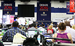 NEW YORK, Sept. 26, 2016 (Xinhua)  -- Media staff work at the media center prior to the first U.S. presidential debate at Hofstra University in New York, the United States on Sept. 26, 2016. The first of three presidential debates between the Democratic and Republican nominees, Hillary Clinton and Donald Trump, will be held Monday at Hofstra University in New York. (Xinhua/Qin Lang) (Credit Image: © Qin Lang/Xinhua via ZUMA Wire)