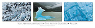 Triptych of abstract ice patterns in glacier and icebergs in Copper River Delta and Inside Passage of Alaska.