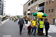 Fans arriving before the EFL Sky Bet Championship match between Norwich City and Hull City at Carrow Road, Norwich, England on 14 October 2017. Photo by John Marsh.