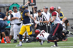 BERKELEY, CA - SEPTEMBER 12:  Running back Daniel Lasco #2 of the California Golden Bears breaks a tackle from defensive back Kameron Kelly #27 of the San Diego State Aztecs during the third quarter at California Memorial Stadium on September 12, 2015 in Berkeley, California. The California Golden Bears defeated the San Diego State Aztecs 35-7. (Photo by Jason O. Watson/Getty Images) *** Local Caption *** Daniel Lasco; Kameron Kelly