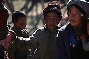Villagers on Tibetan plateau