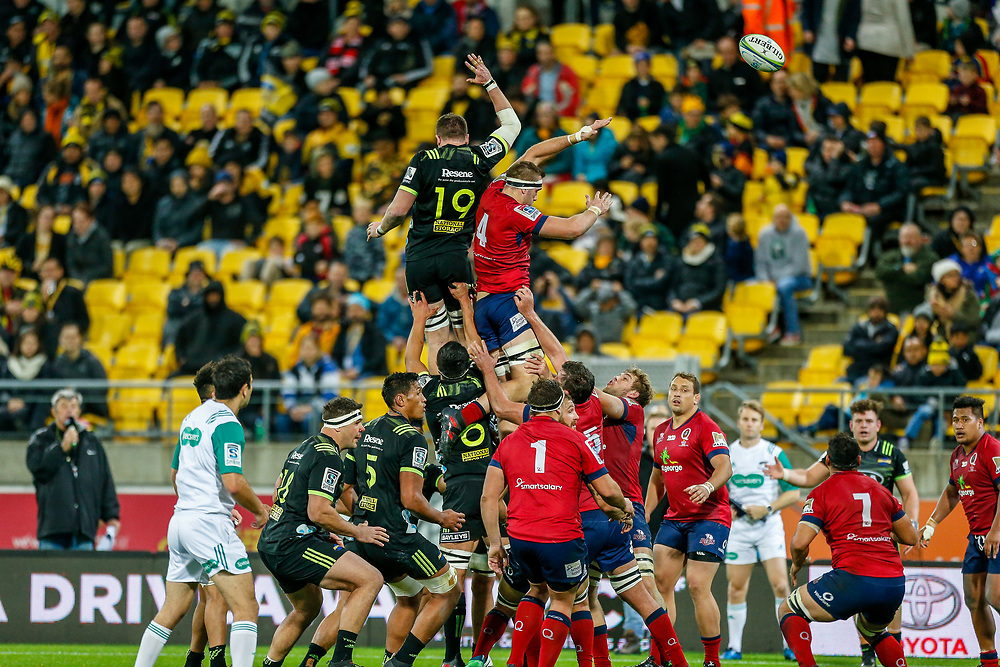 Lineout during the Super rugby union game (Round 14) played between Hurricanes v Reds, on 18 May 2018, at Westpac Stadium, Wellington, New  Zealand.    Hurricanes won 38-34.