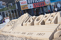 Huntington Beach, CA - August 06: Surfing fans take pics around the massive sand sculpture at the Vans US Open of Surfing in Huntington Beach, California on August 6, 2017. (Photo Jim Kruger / Kruger-images.com)