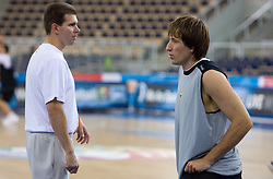 Tomo Mahoric and Matjaz Smodis of Slovenia during the practice session, on September 12, 2009 in Arena Lodz, Hala Sportowa, Lodz, Poland.  (Photo by Vid Ponikvar / Sportida)