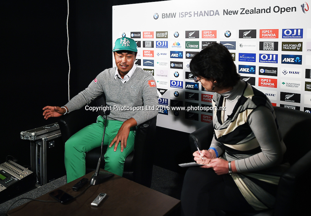Japan's Hideto Tanihara during a press conference after Round 3 at The Hills during 2016 BMW ISPS Handa New Zealand Open. Saturday 12 March 2016. Arrowtown, New Zealand. Copyright photo: Andrew Cornaga / www.photosport.nz