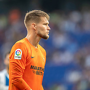 BARCELONA, SPAIN - August 18: Goalkeeper Tomas Vaclik #1 of Sevilla during the Espanyol V  Sevilla FC, La Liga regular season match at RCDE Stadium on August 18th 2019 in Barcelona, Spain. (Photo by Tim Clayton/Corbis via Getty Images)