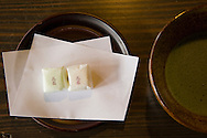 Japanese Sweets and Green Tea - Wagashi are a traditional Japanese confectionery which is often served with tea, especially the types made of mochi, azuki bean paste and fruits.<br />
