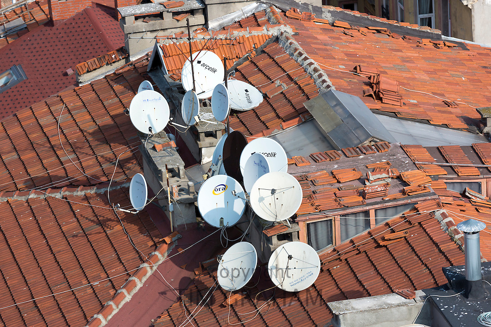 Satellite dishes on roof of homes in Galata district of Istanbul, Turkey