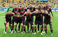 Fotball<br /> Tyskland v Brasil<br /> Semifinale VM<br /> 08.07.2014<br /> Foto: Witters/Digitalsport<br /> NORWAY ONLY<br /> <br /> Team Deutschland<br /> hinten v.l. Torwart Manuel Neuer, Toni Kroos, Miroslav Klose, Mats Hummels, Sami Khedira, Jerome Boateng<br /> vorn v.l. Philipp Lahm, Thomas Mueller, Benedikt Hoewedes, Bastian Schweinsteiger, Mesut Oezil<br /> Fussball WM 2014 in Brasilien, Halbfinale, Brasilien - Deutschland<br /> Lagbilde Tyskland