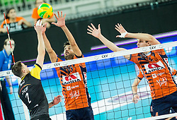 Mariusz Wlazly of PGE Skra Belchatow vs Apostolos Armenakis of ACH and Jan Kozamernik of ACH during volleyball match between ACH Volley (SLO) and PGE Skra Belchatow (POL) in Round #4 of 2017 CEV Volleyball Champions League, on January 19, 2017 in Arena Stozice, Ljubljana, Slovenia. Photo by Vid Ponikvar / Sportida