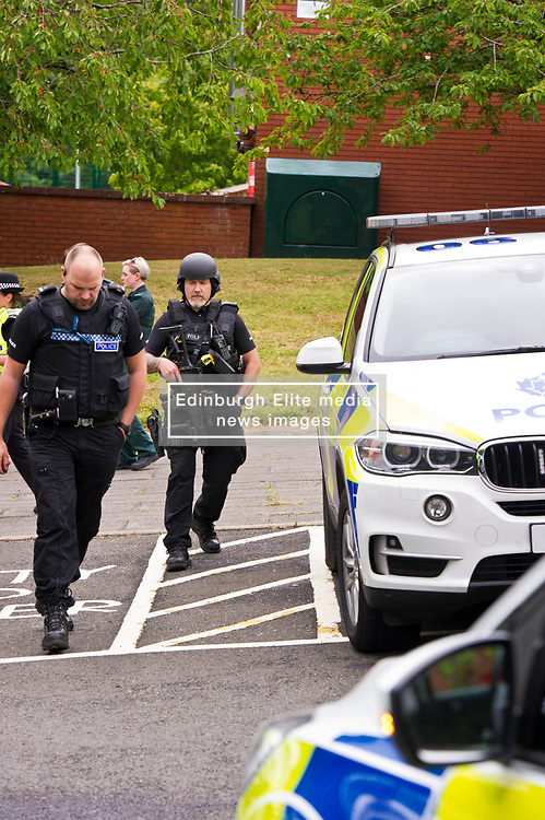 Pictured: <br /> <br /> Armed officers and dog units from Police Scotland and ambulances from the Scottish Ambulance service were called to attend an incident at Beeslack Community School in Penicuik this morning. Major Incident uinits from the ambulance service were seen heading to the school around 9:30 on Monday 16 July 2018.  The armed  and dog units were stood down atr 10:00 with the ambulances still in situ.  No casualties were reported from the incident.  <br /> <br /> Ger Harley | EEm 16 July 2018