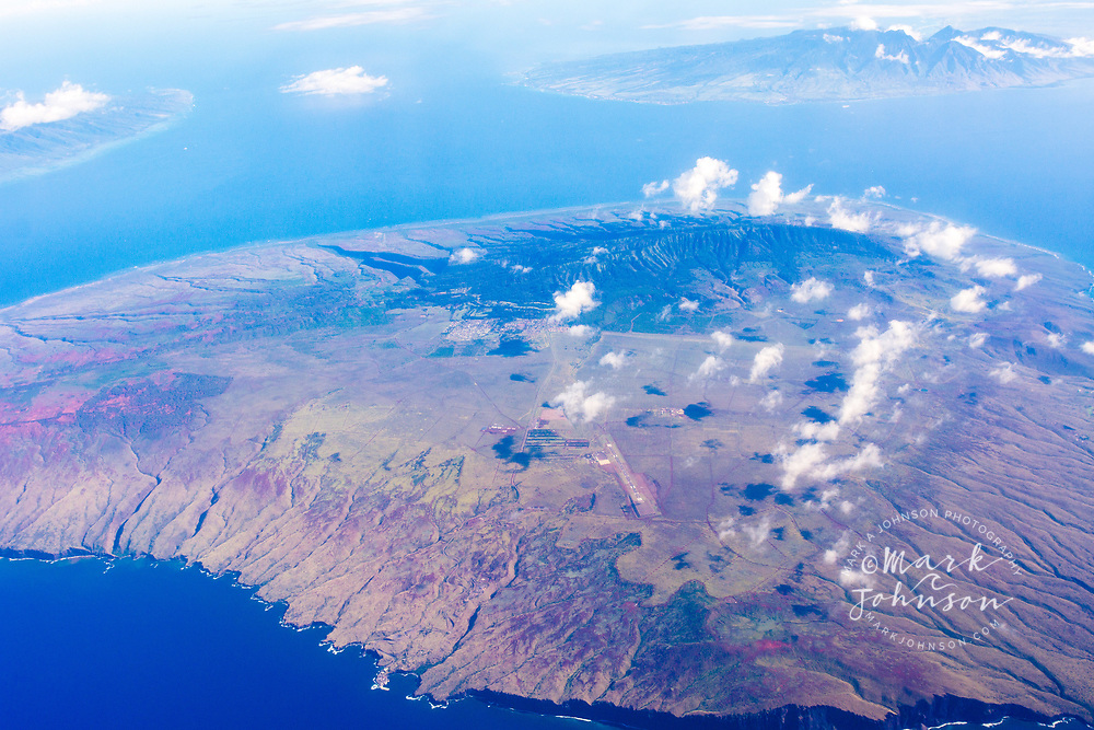 Aerial photograph of Lanai island & Maui in distance, Hawaii, USA