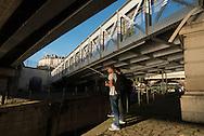 France. Paris 4th district.  Bastille, Arsenal port and canal / canal de la Bastille et port de l arsenal
