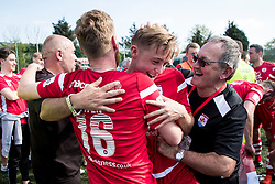 NEWTOWN, WALES - Sunday, May 6, 2018: Jay Owen and Rob Hughes of Connahs Quay Nomads celebrate after the full time whistle in the FAW Welsh Cup Final between Aberystwyth Town and Connahs Quay Nomads at Latham Park. (Pic by Paul Greenwood/Propaganda)