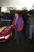 Lord Montagu. Gumball rally departure. Hyde Park corner. London. 26 April 2001. © Copyright Photograph by Dafydd Jones 66 Stockwell Park Rd. London SW9 0DA Tel 020 7733 0108 www.dafjones.com