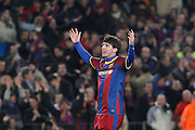 FC Barcelona's Leo Messi celebrates goal during UEFA Champions League match.March 8,2011.