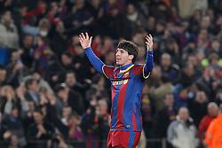 FC Barcelona's Leo Messi celebrates goal during UEFA Champions League match.March 8,2011.