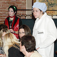 "Krystal Claus (aka Alisha McDarris) and Inspector Dodges (aka Jenna Rebbin Shaw) during Mayhem & Mystery's production of ""I'll Be Home Shopping for Christmas"" at the Spaghetti Warehouse in downtown Dayton, Monday, November 9, 2009."