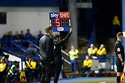 Fourth Official Tony Harrington holds up the board for 5 minutes extra time during the EFL Sky Bet Championship match between Sheffield Wednesday and Luton Town at Hillsborough, Sheffield, England on 20 August 2019.