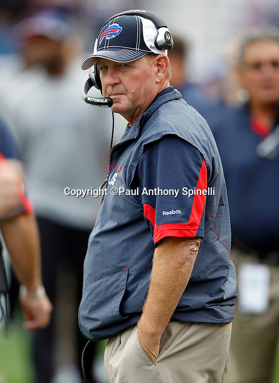 Buffalo Bills Head Coach Chan Gailey looks on during the NFL regular season week 3 football game against the New England Patriots on September 26, 2010 in Foxborough, Massachusetts. The Patriots won the game 38-30. (©Paul Anthony Spinelli)