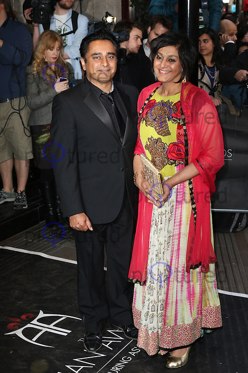 Sanjeev Bhaskar, Meera Syal, The Asian Awards, Grosvenor House Hotel, London UK, 17 April 2015, Photo by Richard Goldschmidt