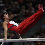 Sean Melton, Colorado Springs, Colorado, in action on the Parallel Bars during the Senior Men Competition at The 2013 P&G Gymnastics Championships, USA Gymnastics' National Championships at the XL, Centre, Hartford, Connecticut, USA. 16th August 2013. Photo Tim Clayton