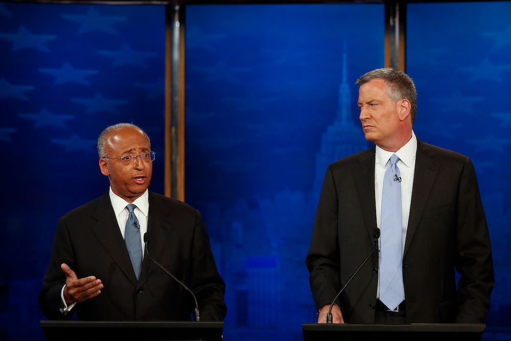 Democratic candidates for Mayor of New York City participate in the final televised debate in New York, NY on Tuesday, Sept. 3, 2013.<br /> <br /> CREDIT: Andrew Hinderaker for The Wall Street Journal<br /> SLUG: NYDEBATE