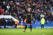 Leicester City goalkeeper Kasper Schmeichel (1) celebrates after Leicester City forward Jamie Vardy (9) scores a goal to make it 1-0 during the Premier League match between Leicester City and Watford at the King Power Stadium, Leicester, England on 20 January 2018.