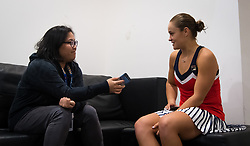 September 26, 2018 - Ashleigh Barty of Australia talks to the media after winning her third-round match at the 2018 Dongfeng Motor Wuhan Open WTA Premier 5 tennis tournament (Credit Image: © AFP7 via ZUMA Wire)