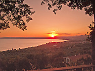 Villa San Donato in Italy, on the border between Tuscany and Lazio. Sunset over Lake Bolsena.