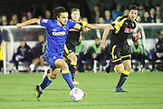 AFC Wimbledon attacker Egli Kaja (21) dribbling during the EFL Sky Bet League 1 match between AFC Wimbledon and Rotherham United at the Cherry Red Records Stadium, Kingston, England on 17 October 2017. Photo by Matthew Redman.