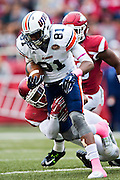 FAYETTEVILLE, AR - OCTOBER 31:  Caylon Weathers #81 of the UT Martin Skyhawks is tackled after catching a pass during a game against the Arkansas Razorbacks at Razorback Stadium on October 31, 2015 in Fayetteville, Arkansas.  The Razorbacks defeated the Skyhawks 63-28.  (Photo by Wesley Hitt/Getty Images) *** Local Caption *** Caylon Weathers