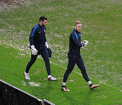 David Raya and Jason Steele of Blackburn Rovers were the only two players to venture on to the pitch at Rodney Parade as the referee calls off their FA Cup tie against Newport County - Mandatory by-line: Paul Knight/JMP - Mobile: 07966 386802 - 09/01/2016 -  FOOTBALL - Rodney Parade - Newport, Wales -  Newport County v Blackburn Rovers - FA Cup third round