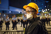 Student protests Hong Kong.Menacing elderly protester at the Legislative council building.5th/6th October 2014<br /> Pic Jayne Russell +852 97578607.<br /> Date-05.10.14