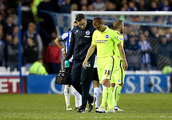 Steve Sidwell of Brighton & Hove Albion walks off the pitch after picking up an injury - Mandatory by-line: Robbie Stephenson/JMP - 13/05/2016 - FOOTBALL - Hillsborough - Sheffield, England - Sheffield Wednesday v Brighton and Hove Albion - Sky Bet Championship Play-off Semi Final first leg