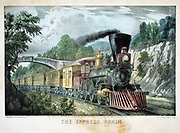 The Express Train. Locomotive with cowcatcher hauls train through cutting. Print published by Currier & Ives, New York 1870. Lithograph.