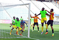 May 12, 2017 - Rades, Tunisia - Coulibaly Fousseny(R) who scores a goal of  (EST)and Ondo Francisco(5) of the Vita club during the First day of the group stage of the Champions League  2017 Total  between Esperance Sportive de Tunis (EST) and the formation of AS Vita Club (RD Congo) at the Rades stadium..The Esperance Sportive de Tunis (EST) won by 3/1. (Credit Image: © Chokri Mahjoub via ZUMA Wire)