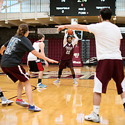 December 16, 2016 - New York, NY : Danielle Burns, a senior guard/forward for the Fordham University Women's Basketball Team, (22), practices with the team in Rose Hill Gymnasium on Friday under the watchful eye of coach Stephanie Gaitley, right. CREDIT: Karsten Moran for The New York Times