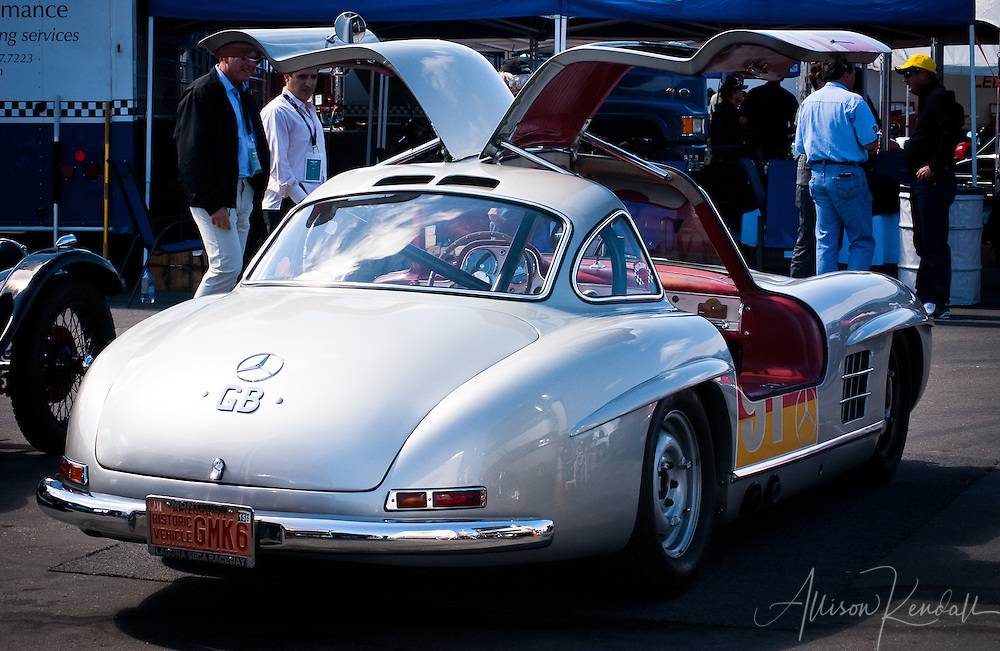 Gullwing Mercedes, displayed at Laguna Seca during the Reunion events of Monterey Car Week