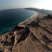 Oman, Ra's al-Jinz. March/14/2008...Ocean landscape from the RJ-1 mesa looking south.