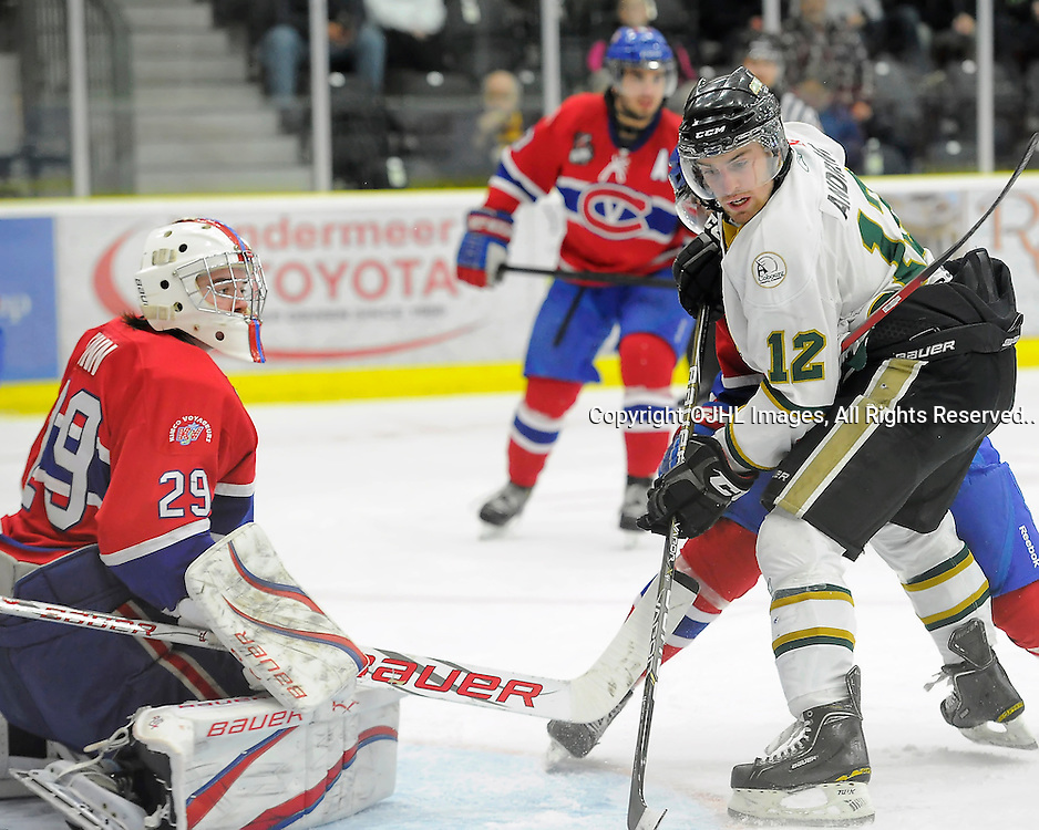 COUBOURG, ON - Mar 16 : Ontario Junior League Action Playoff Series Action: 2nd Round game between Cobourg Cougars and Kingston Voyageurs. Colbie Andrews #12 of the Cobourg Cougars during first period game action.(Photo by Amy Deroche / OJHL Images)