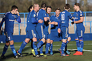 Curzon Ashton striker Adam Morgan (7) centre scores a goal 2-0 during the The FA Cup match between Curzon Ashton and AFC Wimbledon at Tameside Stadium, Ashton Under Lyne, United Kingdom on 4 December 2016. Photo by Stuart Butcher.
