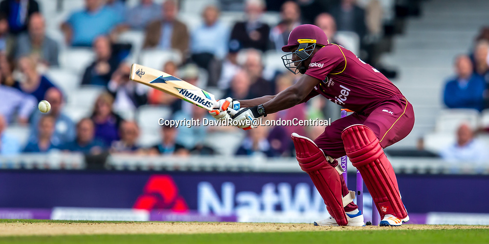 London,UK. 27 September 2017. Rovman Powell batting for the West Indies. England v West Indies. In the fourth Royal London One Day International at the Kia Oval.