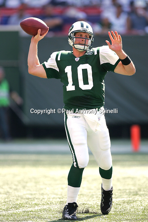 EAST RUTHERFORD, NJ - OCTOBER 1:  Quarterback Chad Pennington #10 of the New York Jets unloads a pass while rolling out against the Indianapolis Colts at the Meadowlands on October 1, 2006 in East Rutherford, New Jersey. The Colts defeated the Jets 31-28. ©Paul Anthony Spinelli *** Local Caption *** Chad Pennington