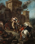 Rebecca Taken Captive by the Templar during the Sack of the Castle of Front-de Boeuf', oil on canvas 1858by Eugene Delacroix (1798-1863) French Romantic painter.  Inspired by the novel 'Ivanhoe' (1819) by Sir Walter Scot.