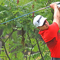 Ryan Yip watches his drive on the first tee during the LeCom Health Challenge Web.com PGA Tour at Peek n Peak July 8, 2017 photo by Mark L. Anderson