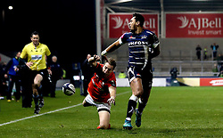 Denny Solomona of Sale Sharks misses a chance to score a try  - Mandatory by-line: Robbie Stephenson/JMP - 18/12/2016 - RUGBY - AJ Bell Stadium - Sale, England - Sale Sharks v Saracens - European Champions Cup
