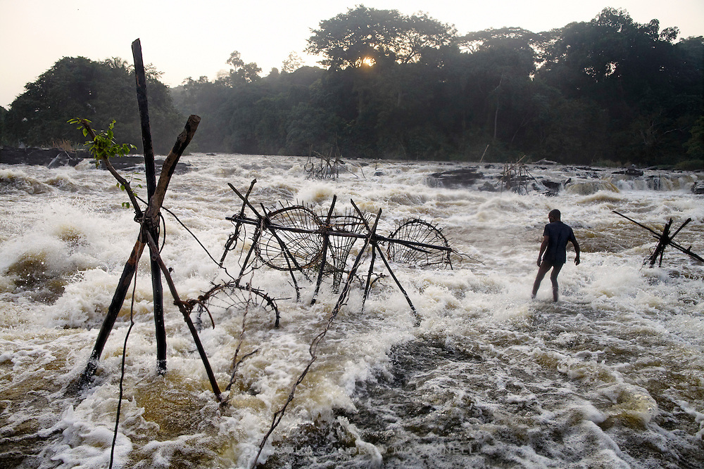 The Balila Falls on the Lindi River, a tributary of the Congo River, in DR Congo. The people of Balila employ the same technique of bamboo baskets as those at Wagenia Falls.