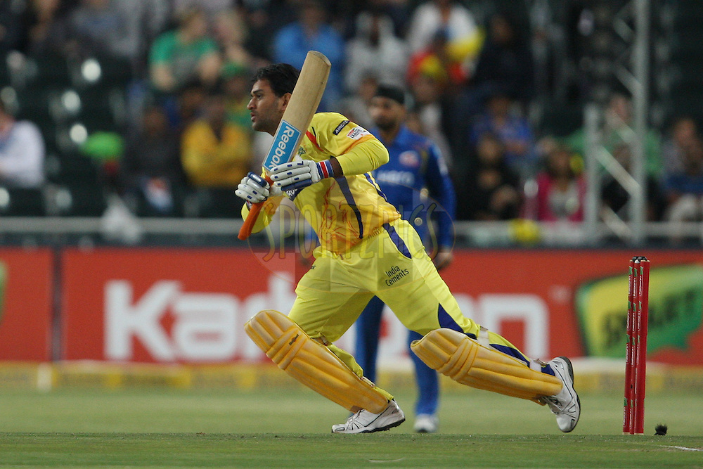 MS Dhoni during match 13 of the Karbonn Smart CLT20 South Africa between The Chennai SUperkings and The Mumbai Indians held at The Wanderers Stadium in Johannesburg, South Africa on the 20th October 2012. Photo by Jacques Rossouw/SPORTZPICS/CLT20
