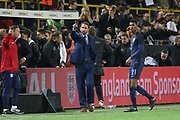 England Manager Gareth Southgate instructs Marcus Rashford of England to applaud the fans during the International Friendly match between Germany and England at Signal Iduna Park, Dortmund, Germany on 22 March 2017. Photo by Phil Duncan.